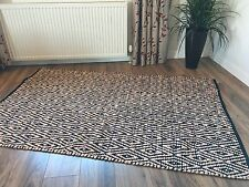 ❤️Black & Cream Diamond Recycled Fabric Rug 120cm x 180cm Flat Weave Hand Loomed