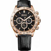Hugo Boss HB 1513179 Ikon Chronograph Gold Tone Black Leather Strap Men's Watch