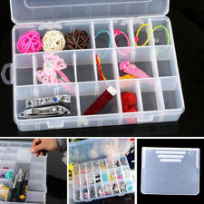 Plastic 24 Compartment Storage Box Case Bead Earrings Jewelry Display Organizer