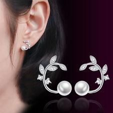 925 Sterling Silver Crystal Zircon Leaves Pearl Stud Earrings Women Jewelry Gift