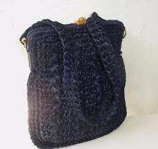 Vintage Dark Blue Cellophane Straw  Shoulder Bag 1970's Era, Made in Italy