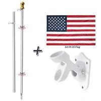 6ft Silver Aluminum Telescopic Flag Pole Adjustable Wall Mount 3X5 Ft flag Kit
