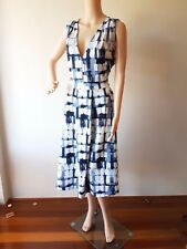 NWT ASOS CURVE Ladies Blue White Printed Knee Length Dress Size: 20 UK 16 US