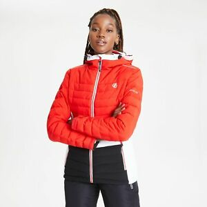 Dare 2B Women's Succeed Waterproof Insulated Quilted Hooded Ski Jacket - Red