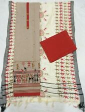 Hand loom Cotton Dress material WARLI work and Chiffon Dupatta  Design N Work 43