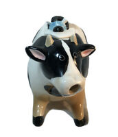 Vintage Cow Creamer w/ Bee On Back Lid Black And White