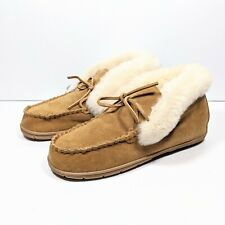 New Lands End Suede Shearling Bootie Slipper Women's 10 Tan Fur Leather Moccasin