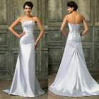 GK Beadwork Satin Long Prom Ball Cocktail Party Dress Wedding Evening Gown Dress