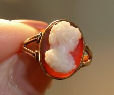 Antique Hand Carved Shell Cameo Ring Sz 6 Yellow Gold Woman Bust Oval Frame