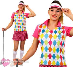 LADIES GOLFER COSTUME GOLFING FANCY DRESS PUB GOLF HEN PARTY ADULT SPORT UNIFORM