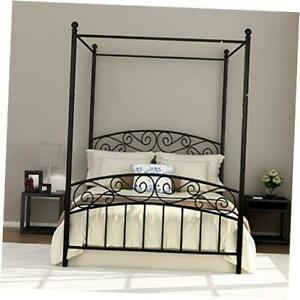 Size Metal with Headboard and Footboard Sturdy Black Full Canopy Bed Frame