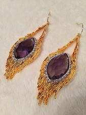 Alexis Bittar GOLD MALDIVIAN FEATHERED Pierced Earrings - PURPLE IOLITE DOUBLET