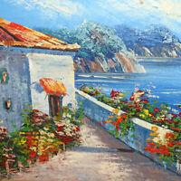 Vintage Original Landscape Seascape Impressionist Oil Painting on Board 14 x 12