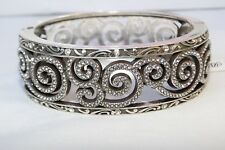 New Authentic  Brighton Shiraz Silver &Crystal Two sided Hinged Bangle Bracelet