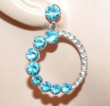 ORECCHINI donna cerchi argento strass cristalli celesti pendenti earrings G49