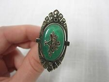 VINTAGE STERLING SILVER MARCASITE GREEN ONYX COCKTAIL RING W/ BASKET OF FLOWERS