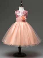 Flower Girls' Dress Sequined Birthday Party Dresses Evening Gowns for 4-12Y Kids