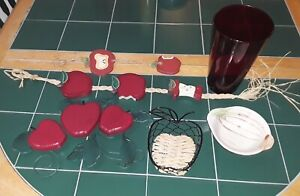Home Kitchen Apple Lot of 6 Glass Vase Basket Bowl/Dish Hanging Wall Art Red