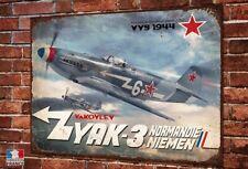Plaque métal Oeuvre d'art 40x30cm yakovlev yak-3 normandie-niemen warbirds ww2