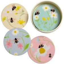 Transomnia Bee Happy Round Ceramic Coasters Set of 4 with Holder - Beee005