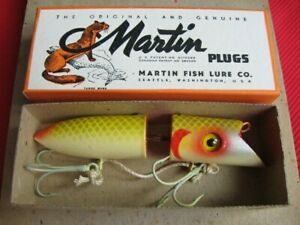 Vintage Martin Jointed Wood Salmon Plug Fishing Lure - Mint with Dealer Carton