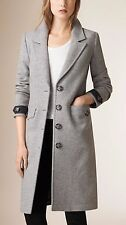 DISCOUNT!!Burberry Women's Grey Wool and Cashmere-Blend Coat| Size UK 6 RRP £995