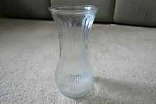 "Hoosier Glass VASE # 4087-A Clear Ribbed Flared 9 3/4"" high"