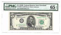 1950A $5 CLEVELAND FRN, PMG GEM UNCIRCULATED 65 EPQ BANKNOTE