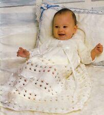 "BABIES~CHRISTENING/BAPTISM  DRESS~4 PLY KNITTING PATTERN ~ SIZE 18-20"""