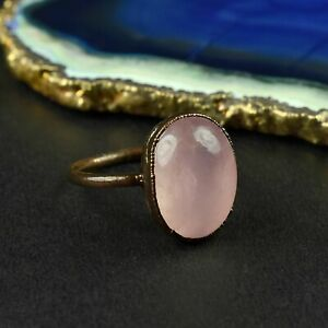 Natural Pink Rose Quartz Antique Women Fashion Design Stackable Gemstone Ring