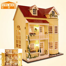 Cute Doll House The Furniture Wooden DIY Dolls Dollhouse Miniature Kit Kids Gift