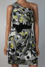$158 Max and Cleo BCBG Hammered Satin Black Gray Yellow Floral Dress NWT M285