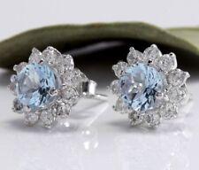 Women's 925 Silver Ear Stud Flower Aquamarine Drop Hoop Earrings Wedding Jewelry