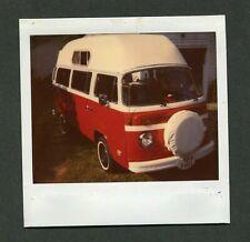 Vintage Polaroid Photo RED VW Volkswagen Micro Bus Westfalia Camper Van 407056