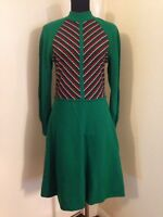 True Vintage 1960s Wool Green Dress With Red And White Stripe By Jersey Masters