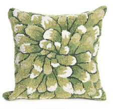 """PILLOWS - """"GREEN CHRYSANTHEMUM"""" HAND TUFTED INDOOR OUTDOOR PILLOW - 18"""" SQUARE"""