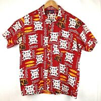 Hawaiian Aloha Shirt Tiki LG Woody Surfer Red Button Down Round Bay Free Ship