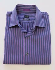Paul Smith London Two-Fold Cotton Striped Flip Cuffs Casual Shirt 15 1/2 M Italy
