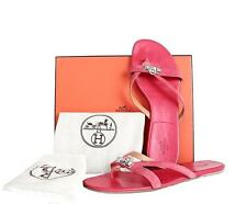 $800 HERMES Corfou Leather Suede Mini Dog Buckle Sandals Flats Red Coral Sz 41