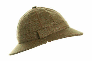 GHILLIE HAT BROWN CHECK  WOOL TWEED  FOR HUNTING SHOOTING FISHING NEW ALL SIZES