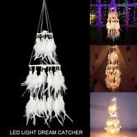 Handmade Craft LED Light Feathers Dreamcatcher Dream Catcher Wall Hanging Decor