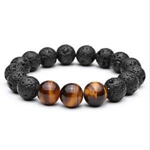 12MM Tiger Eye Natural Stone Beads Bracelet Buddha Charm Men's Fashion Bracelets