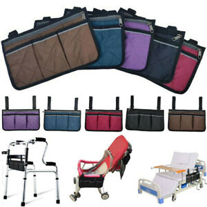 Wheelchair Armrest Side Pouch Walker Storage Carry Bag Organizers Accessories