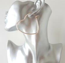 Gorgeous large 6cm ROSE GOLD tone heart shape hoop earrings - NEW
