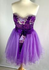 MAC DUGGAL COUTURE Wedding Guest Prom Party Dress Detachable Skirt Purple UK8