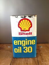 VINTAGE SHELL ENGINE OIL 30 CAN GARAGE SHOP DISPLAY UPCYCLE MAN CAVE STORAGE TIN