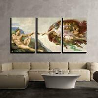 "Wall26 - Creation of Adam by Michelangelo - Canvas Wall Art - 16""x24""x3 Panels"