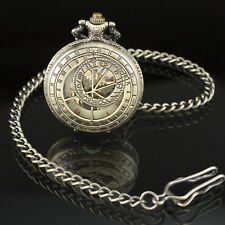 Pacifistor Skeleton Mechanical Pocket Watch Vintage Steampunk Bronze Chain