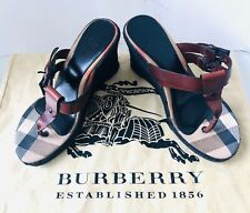 Burberry Wedge Sandals Thong Leather Italian 37 4 6.5 Authentic 💯 Bargain