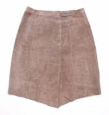 Vintage Taupe 100% Real Suede PART TWO High Waist A-line Ladies Skirt Size UK 12